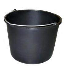 Ведро (14л) пластик  круглое, хозяйственное с метал. ручкой, без крышки MIX