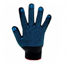 Перчатки трикотажные с ПВХ  черные 10-й класс (4 ники) 8411