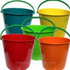 Ведро пищевое (5л) круглое пластик. цвет микс мерное с пласт. ручкой без крышки /122005-АК