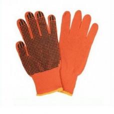 Перчатки трикотажные с ПВХ  оранжевые 10-й класс (3 ники) 8312