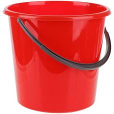 Ведро пищевое (11л) круглое пластик. цвет красное с пласт. ручкой без крышки