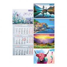 Календарь 2021 квартальный (3 спир.) MIX BM.2105
