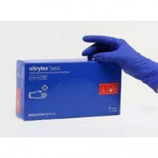 Перчатки нитриловые не опудр. M (200 шт) синяя Nitrylex (без НДС)