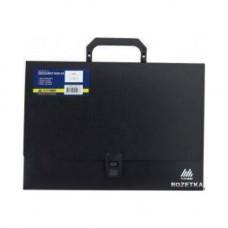 Портфель пласт. А4 3 отделения, черный  1601-01-А